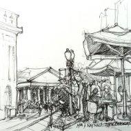 Washington DC coffee break, ink pen and pencil sketch