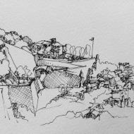 Bergamo Wall View, ink pen sketch
