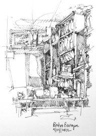 Bistro Europa, Buffalo, Ink Pen Sketch