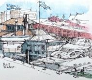 Puerto Madero, Buenos Aires, ink pen and watercolor pencil