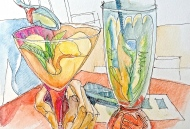 Cool drinks, Buenos Aires, Ink Pen and Watercolor Pencil