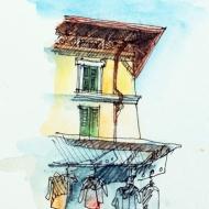 Lake Como, Market Sketch, Watercolor Pencil and Ink Pen