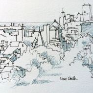 From 1088, Buffalo Skyline, Ink Pen and Blue Gray Watercolor Pencil