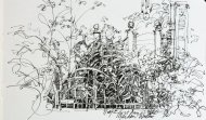 Our backyard, Ink Pen Sketch