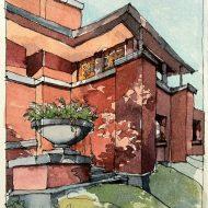 Heath House, Buffalo, Watercolor and Ink Pen