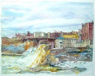 The Genesee River, downtown Rochester NY. Ink and watercolor