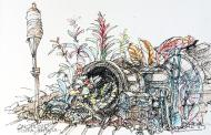 Cornucopia, Key West, Watercolor Pencil and Ink Pen