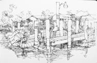 Northport pier, Florida, Ink Pen Sketch