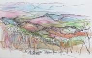 Watercolor pencil and ink sketch, 5 x 8.