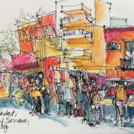 Palermo Hollywood Market, Buenos Aires, Watercolor Pencil and Ink Pen