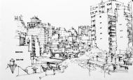 Palermo Soho view, Buenos Aires, ink pen sketch