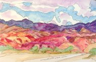 Road to Cafayate, Watercolor pencil and ink, Argentina