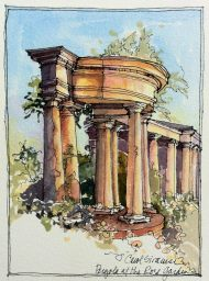 The Rose Garden, Olmsted Park, Buffalo, watercolor and ink pen
