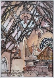 Trinity, Buffalo, Ink and Watercolor Sketch