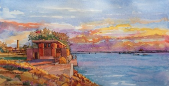 FLWright.Fontana Boathouse at Sunset.web