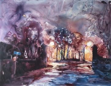 Looking into Penhurst Park at night